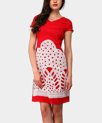 Red Mountain Cap-Sleeve Dress
