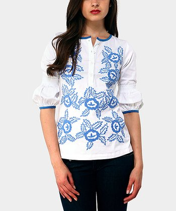 Blue Floral Yvone Peasant Top