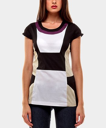 Purple & Black Aroma Color Block Tunic