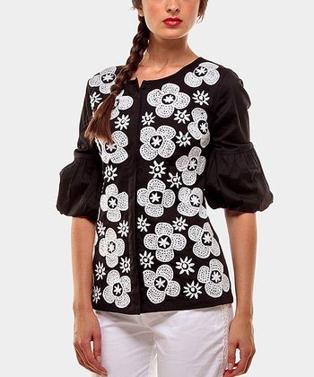 Black Micaela Peasant Top