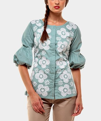 Green Micaela Peasant Top