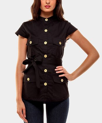 Black Portobello Button-Up