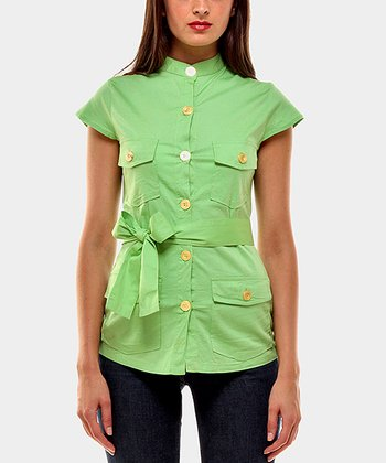 Pistachio Portobello Button-Up