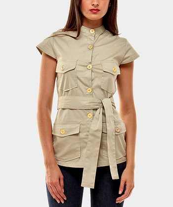 Tan Portobello Button-Up