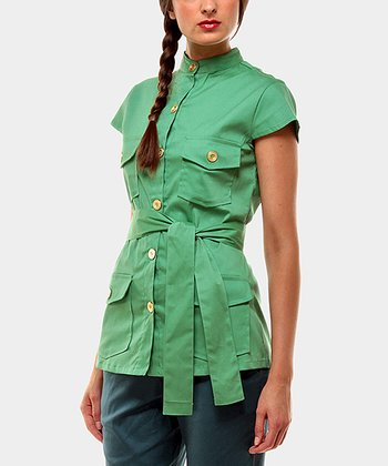Green Portobello Button-Up