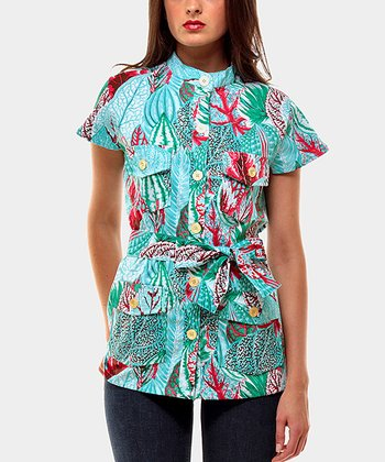 Tropical Leaves Portobello Button-Up