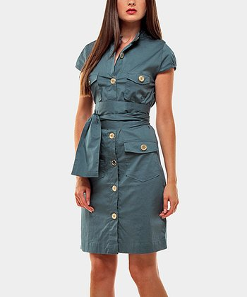 Aqua Portobello Button-Up Dress