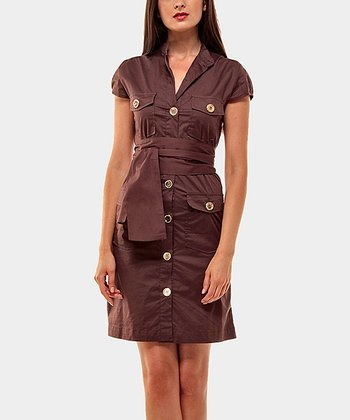 Chocolate Portobello Button-Up Dress
