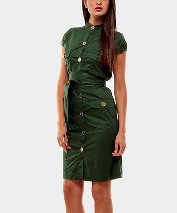 Green Portobello Button-Up Dress