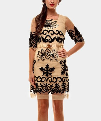 Beige Libano Three-Quarter Sleeve Dress
