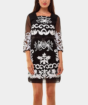 Black & White Libano Three-Quarter Sleeve Dress