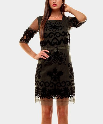 Black Libano Three-Quarter Sleeve Dress