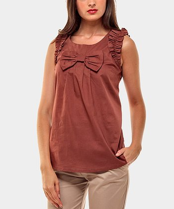 Maroon Lazo Sleeveless Top