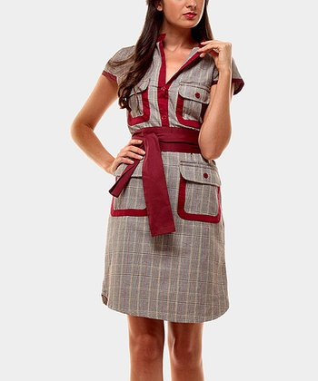 Red & Gray Vichy Short-Sleeve Dress