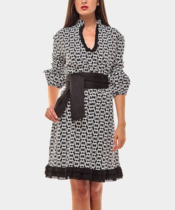 Black & White Lavinia Three-Quarter Sleeve Dress