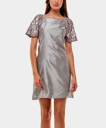 Silver Sharon Drape Sleeve Dress