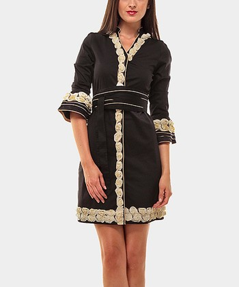 Black & Camel Rosette Three-Quarter Sleeve Dress