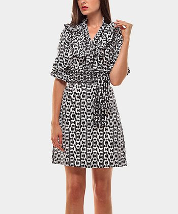 Black & White Ruffle Lavinia Three-Quarter Sleeve Dress