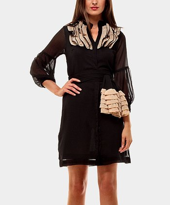 Black Riviera Three-Quarter Sleeve Dress