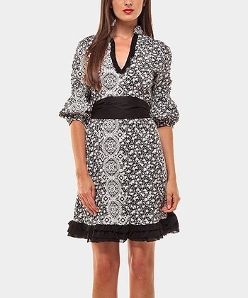 Black & White Tunica Cortijo Three-Quarter Sleeve Dress