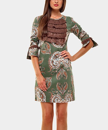 Green & Brown Ruffle Twins Three-Quarter Sleeve Dress  & P