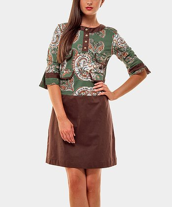 Green & Brown Pocket Twins Three-Quarter Sleeve Dress