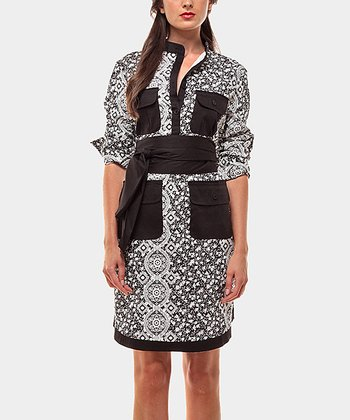 Black & White Cortijo Three-Quarter Sleeve Dress