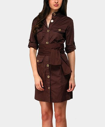 Chocolate Portobello Three-Quarter Sleeve Dress