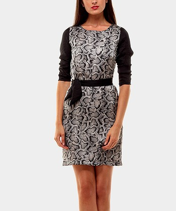 White & Black Python Three-Quarter Sleeve Dress
