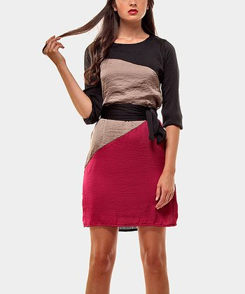 Black & Fuchsia Color Block Three-Quarter Sleeve Dress