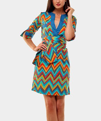 Red & Aqua Zigzag Three-Quarter Sleeve Dress