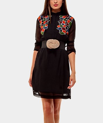 Orange & Black Carnaby Belted Three-Quarter Sleeve Dress