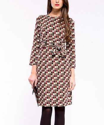 Brown & Maroon Squares Three-Quarter Sleeve Dress