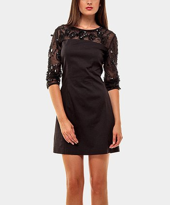 Black Lace Margaret Three-Quarter Sleeve Dress