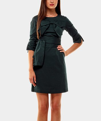Green Bobby Three-Quarter Sleeve Dress