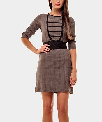 Brown & Black Diplomatic Three-Quarter Sleeve Dress