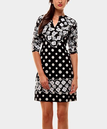 Black Candela Three-Quarter Sleeve Dress