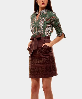 Green & Brown Bow Twins Three-Quarter Sleeve Dress