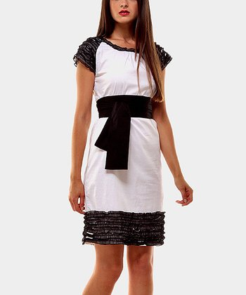 Black & White Celine Cap-Sleeve Dress
