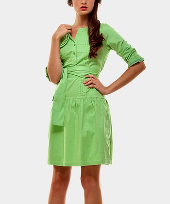 Green Pleated Drop-Waist Dress