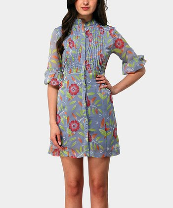 Gray Moon Three-Quarter Sleeve Dress