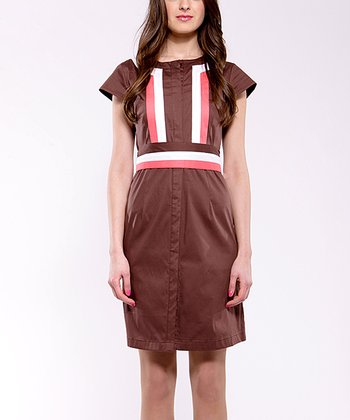 Brown & Coral Fresh Daily Button-Up Dress