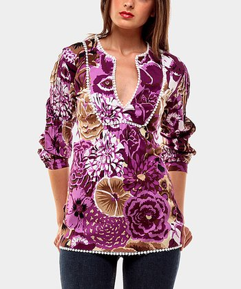 Purple Melody Three-Quarter Sleeve Top