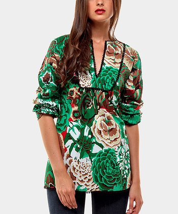 Green Melody Three-Quarter Sleeve Top