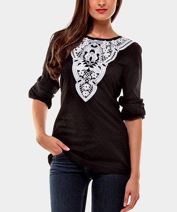 Black & White Annie Three-Quarter Sleeve Top