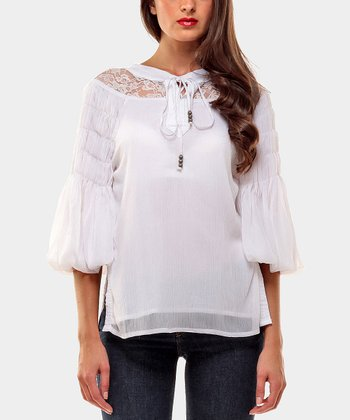 White Scarpini Peasant Top