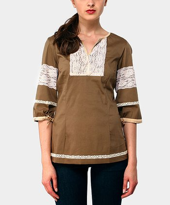 Brown Adrianne Three-Quarter Sleeve Top