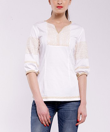 White Adrianne Three-Quarter Sleeve Top