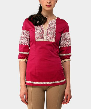 Fuchsia Adrianne Three-Quarter Sleeve Top