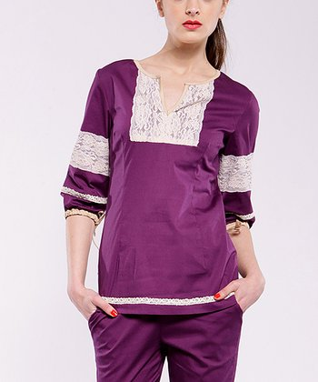 Purple Adrianne Three-Quarter Sleeve Top